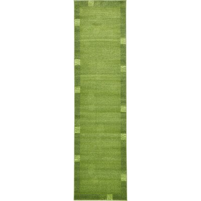 Christi Green Color Bordered Area Rug Rug Size: Runner 27 x 10