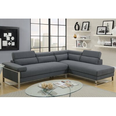 Krahn Glossy Sectional Upholstery: Charcoal