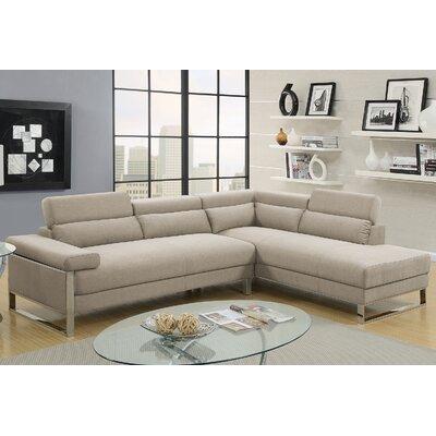 Krahn Glossy Sectional Upholstery: Beige