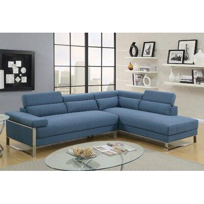 Krahn Glossy Sectional Upholstery: Blue