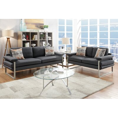 Kraker 2 Piece Living Room Set Upholstery: Ash Black