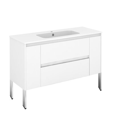 Ambra 47 Single Bathroom Vanity Set Base Finish: Gloss White