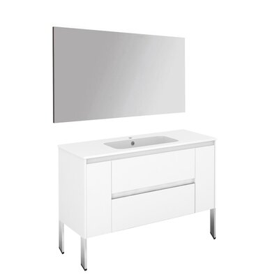Ambra 47 Single Bathroom Vanity Set with Mirror Base Finish: Gloss White