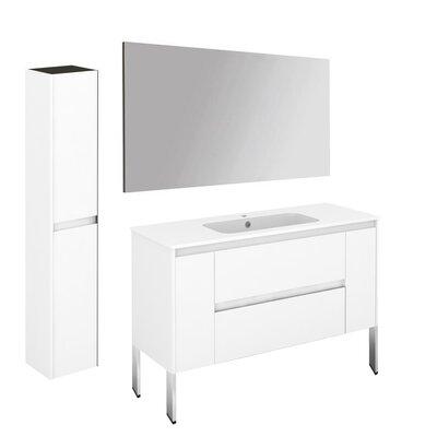 Ambra 47 Single Bathroom Vanity Set with Column and Mirror Base Finish: Gloss White