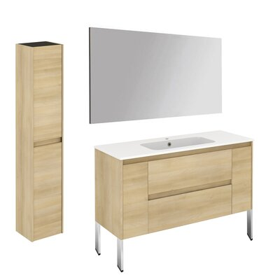 Ambra 47 Single Bathroom Vanity Set with Column and Mirror Base Finish: Nordic Oak