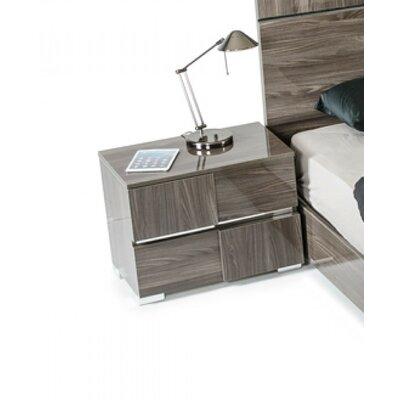 Falbo Modern 2 Drawer Wood Framed Nightstand Color: Gray