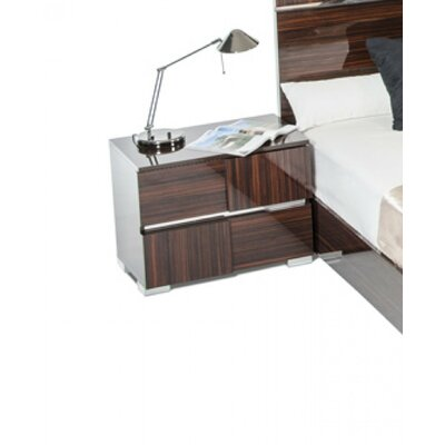 Falbo Modern 2 Drawer Wood Framed Nightstand Color: Ebony