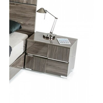 Falbo Contemporary 2 Drawer Wood Framed Nightstand Color: Gray