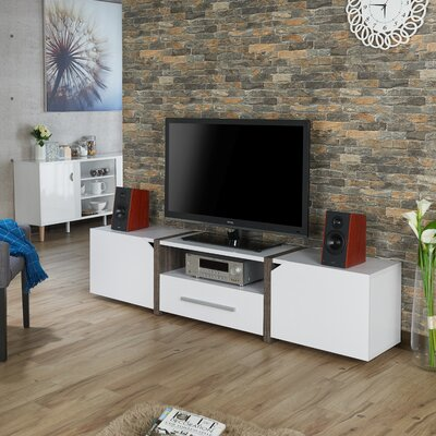 Quaniece Contemporary 81.5 TV Stand Color: White/Dark Gray