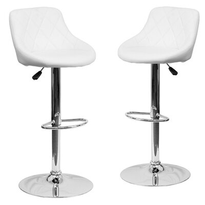 Morley Modern Adjustable Height Swivel Bar Stool Upholstery: White