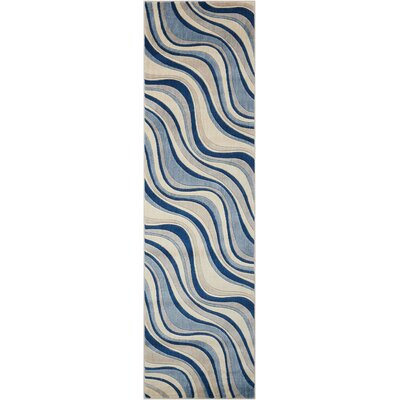 Cherell Ivory/Blue Area Rug Rug Size: Runner 2 x 59