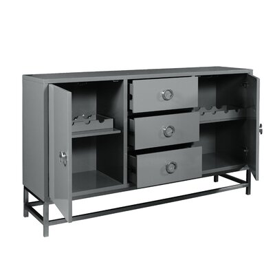 Mccardle Modern 3 Drawer Wine Console Bar Cabinet