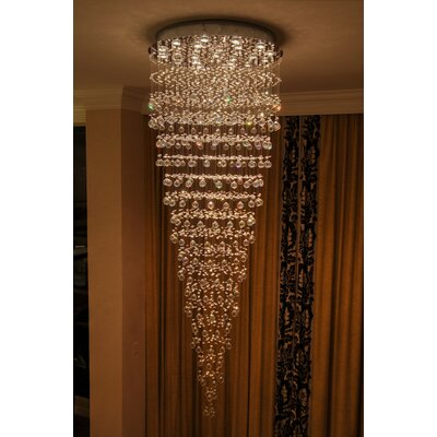 Leiker Contemporary 16-Light Crystal Chandelier Size: 96 H x 32 W