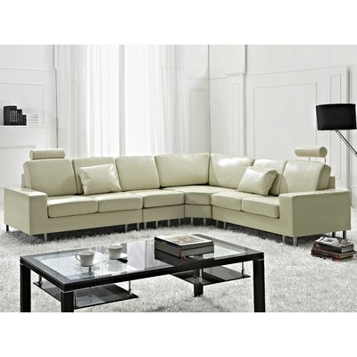 Karlo Leather Reversible Sectional Upholstery: Beige