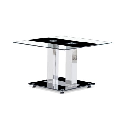 Charland End Table Glass: Clear with Black Stripe