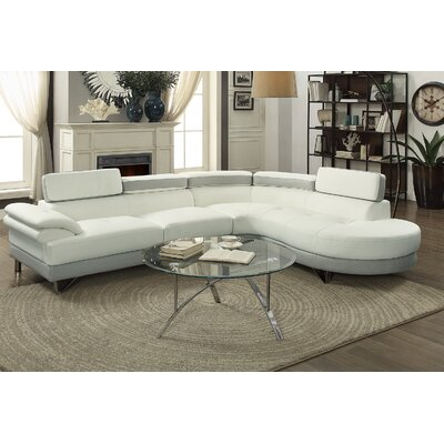 Longworth Sectional Upholstery: Light Gray/White