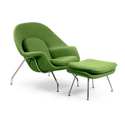 Pontiff Lounge Chair and Ottoman Upholstery: Green