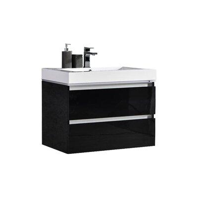Pegram 24 Single Sink Bathroom Vanity Set Base Finish: Black