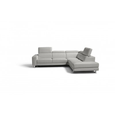 Sania Leather Sectional Upholstery: Light Gray