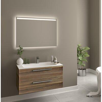 Raevon 40 Single Bathroom Vanity Set with Mirror Base Finish: Matte Walnut