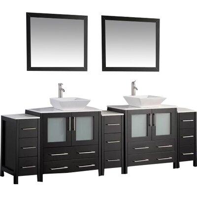 Karson 96 Double Bathroom Vanity Set with Mirror Base Finish: Espresso