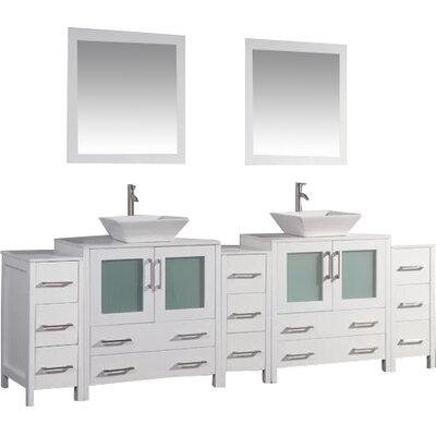 Karson 96 Double Bathroom Vanity Set with Mirror Base Finish: White