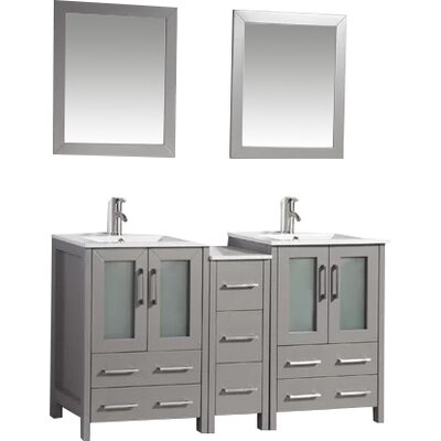 Karson 60 Double Bathroom Vanity Set with Mirror Base Finish: Gray