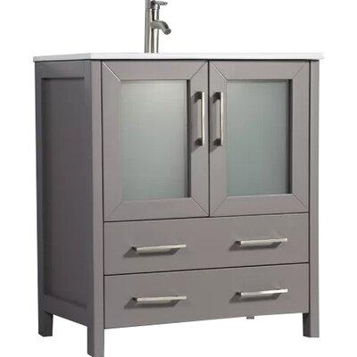Karson 30 Single Bathroom Vanity Set with Mirror Base Finish: Gray