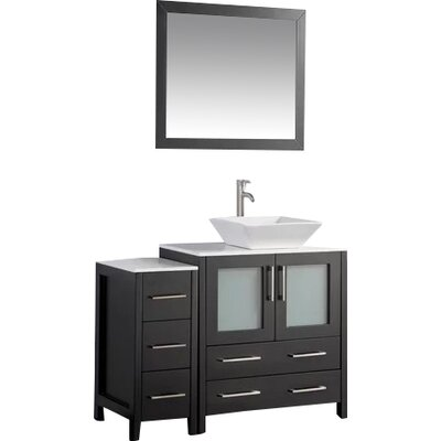 Karson Framed 42 Single Bathroom Vanity Set with Mirror Base Finish: Espresso