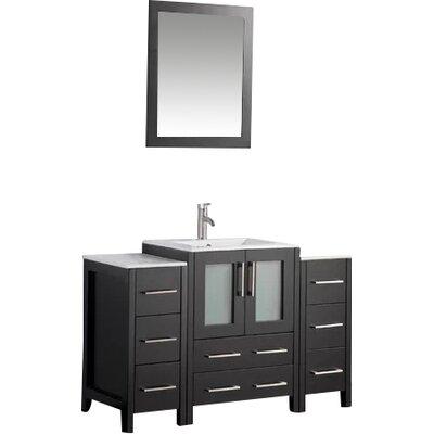 Karson Framed 48 Single Bathroom Vanity Set with Mirror Base Finish: Espresso