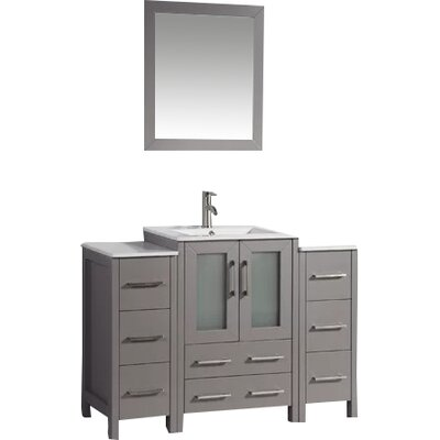 Karson Framed 48 Single Bathroom Vanity Set with Mirror Base Finish: Gray