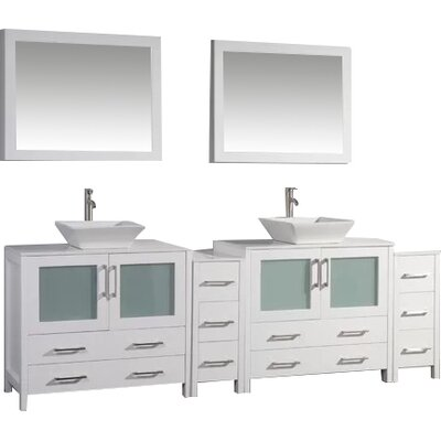 Karson Framed 96 Double Bathroom Vanity Set with Mirror Base Finish: White