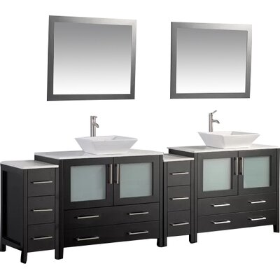 Karson Framed 96 Double Bathroom Vanity Set with Mirror Base Finish: Espresso