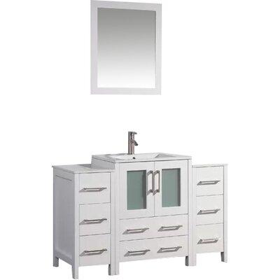 Karson Framed 48 Single Bathroom Vanity Set with Mirror Base Finish: White