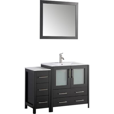 Karson 42 Single Bathroom Vanity Set with Mirror Base Finish: Espresso