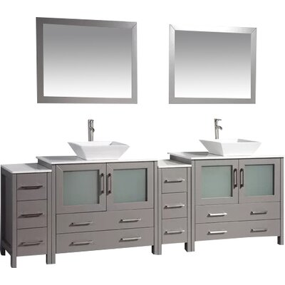 Karson Framed 96 Double Bathroom Vanity Set with Mirror Base Finish: Gray