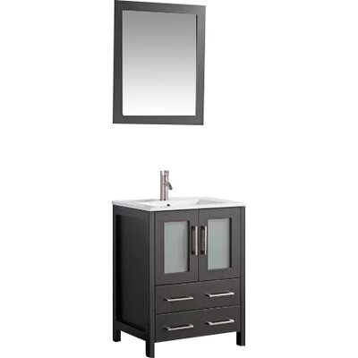 Karson 24 Single Bathroom Vanity Set with Mirror Base Finish: Espresso