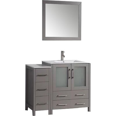 Karson 42 Single Bathroom Vanity Set with Mirror Base Finish: Gray