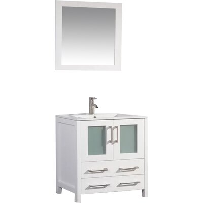 Karson 30 Single Bathroom Vanity Set with Mirror Base Finish: White