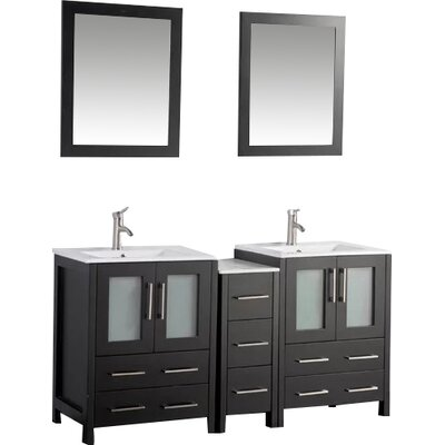 Karson 60 Double Bathroom Vanity Set with Mirror Base Finish: Espresso
