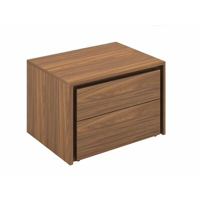 Austral 2 Drawer Nightstand (Set of 2) Color: Walnut