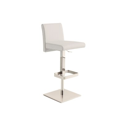 Blakey Adjustable Height Swivel Bar Stool Upholstery: White
