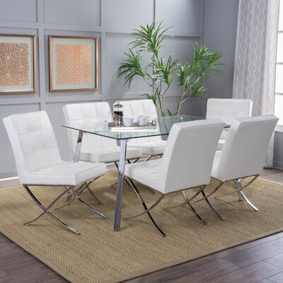 Mira 7 Piece Dining Set Chair Finish: White