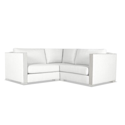 Steffi Solid Right and Left Arms L-Shape Modular Sectional Upholstery: White