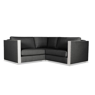 Steffi Solid Right and Left Arms L-Shape Modular Sectional Upholstery: Charcoal