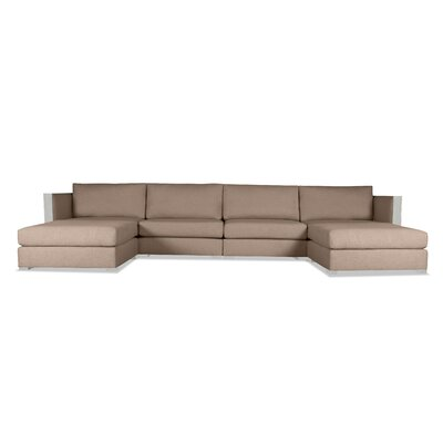 Steffi Double Chaise Sectional Upholstery: Brown