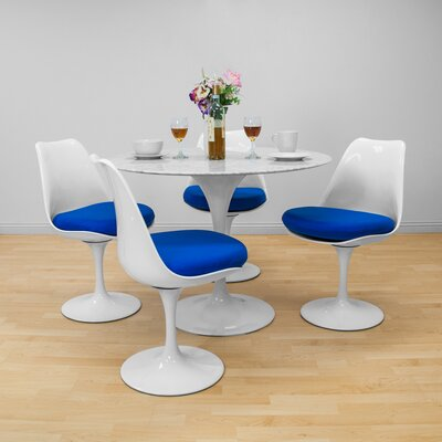 Crandell 5 Piece Dining Set Chair Color: Blue