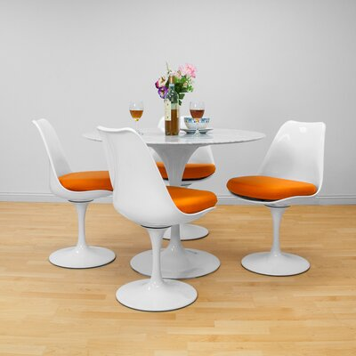 Crandell 5 Piece Dining Set Chair Color: Orange