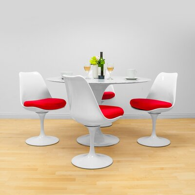 Crandell 5 Piece Dining Set Chair Color: Red
