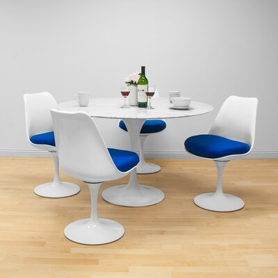 Salgado 5 Piece Dining Set Chair Color: Blue